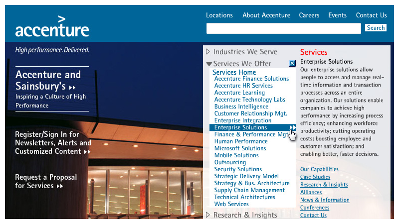 DeMarco Interactive Portfolio - Accenture Homepage, 2003-2005